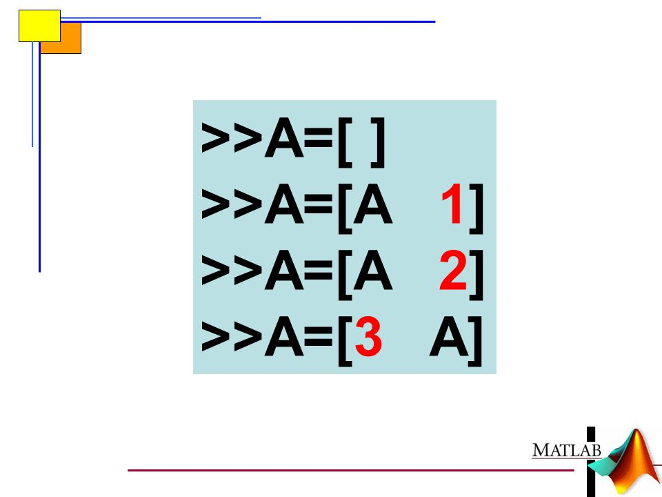 >>A=[ ] >>A=[A 1] >>A=[A 2] >>A=[3 A]